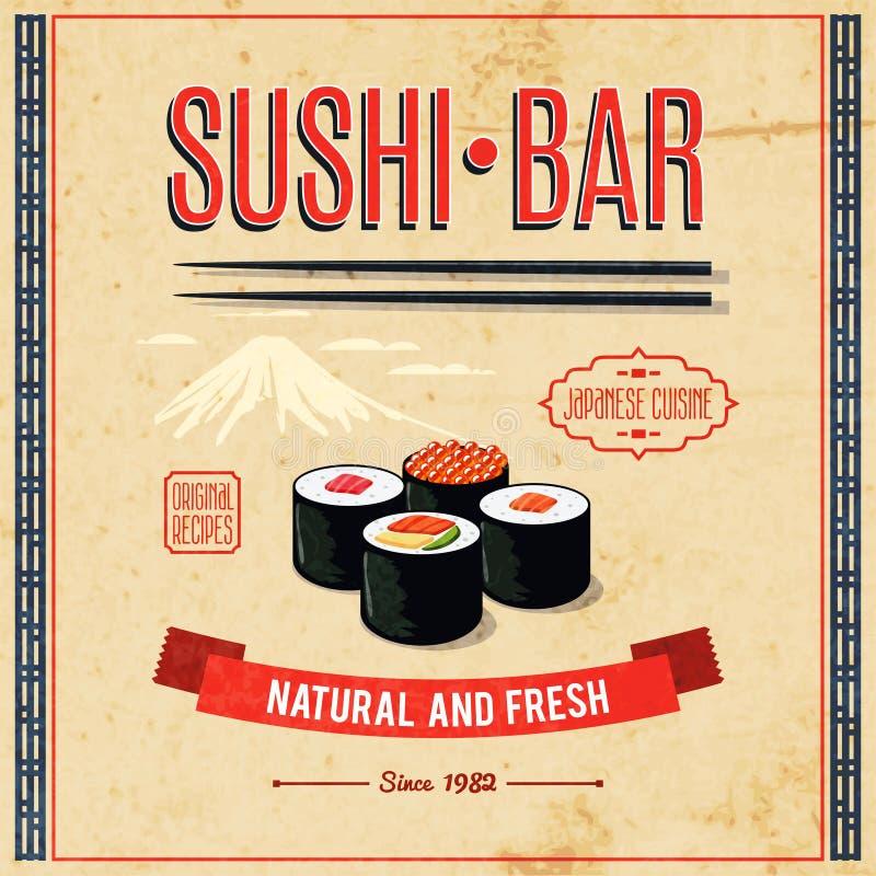 Asian Food Poster. Asian food sushi bar natural and fresh japanese cuisine poster vector illustration vector illustration