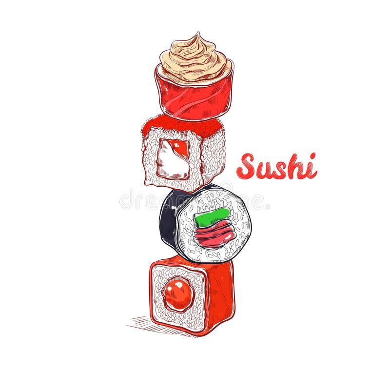 Asian Food poster. Vector hand drawn. Sushi vector illustration
