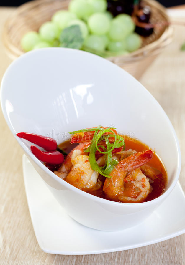 Asian food prawn curry. Typical Asian food , prawn with spicy curry royalty free stock photos