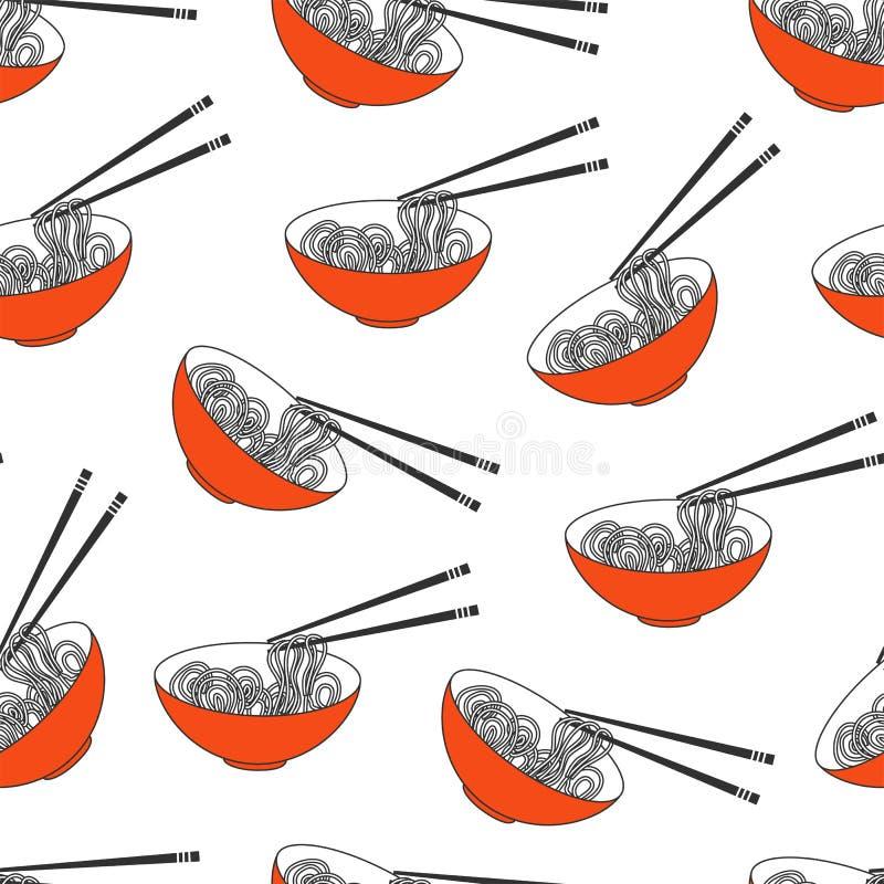 Asian food, ramen noodles bowl vector vector illustration