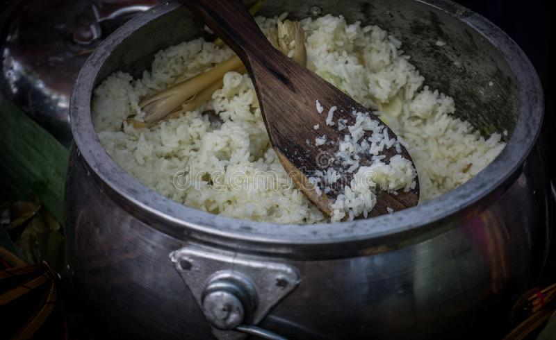 Asian food ,rice porridge Indonesian Steam Rice Nasi Liwet. In central java stock photo
