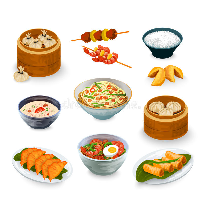 Asian Food Set. Asian food decorative icons set with fortune cookies isolated vector illustration stock illustration