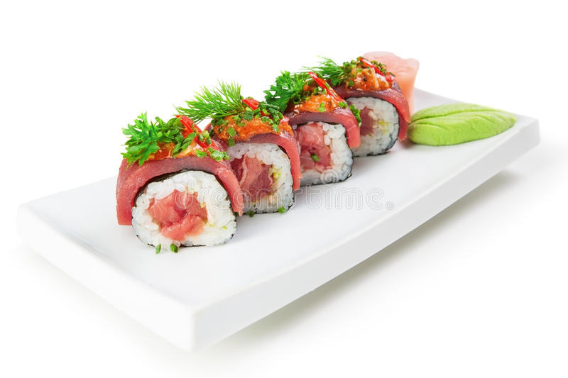 Asian food sushi dish. On a white background. stock images