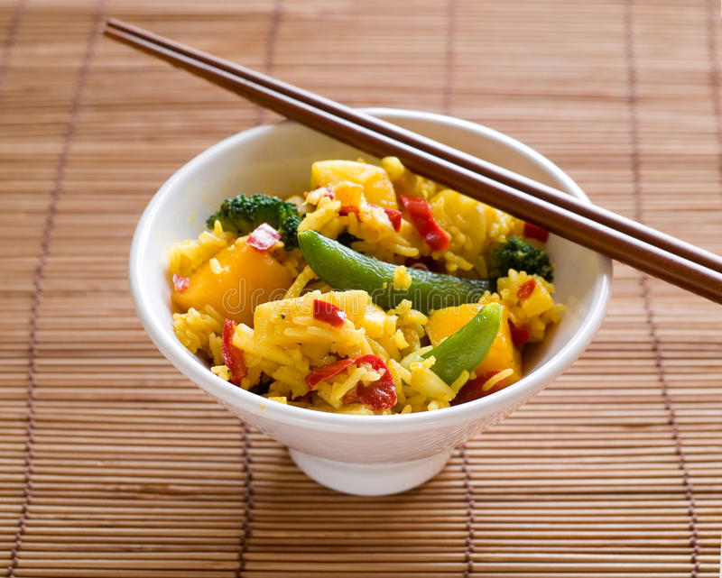 Asian food. Vegetables and rice, selective focus royalty free stock photos