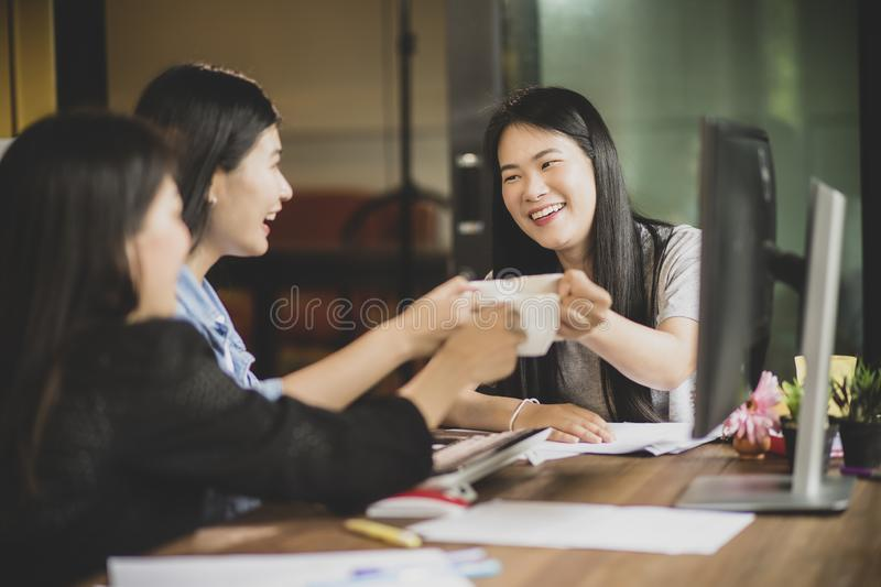 Asian freelance relaxing lifestyle in home office. Asian freelance relaxing lifestyle  in home office stock photos