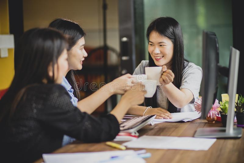 Asian freelance relaxing lifestyle in home office. Asian freelance relaxing lifestyle  in home office stock photo