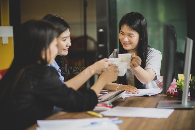 Asian freelance relaxing lifestyle in home office. Asian freelance relaxing lifestyle  in home office stock image