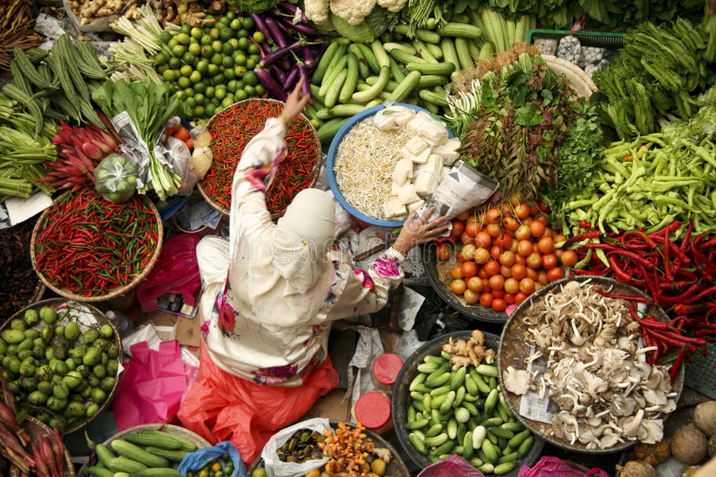 asian woman working fresh fruit and vegetable market stock photography