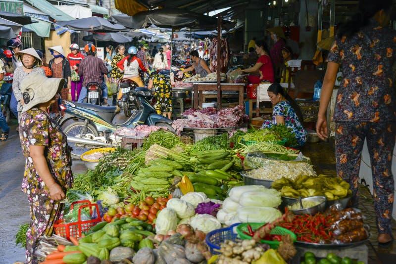 Asian fresh fruit and vegetable market royalty free stock photo
