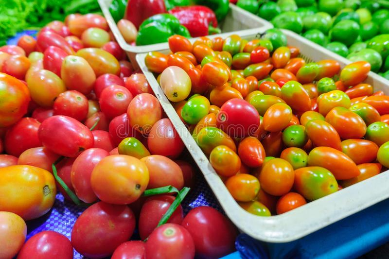 Asian fresh organic fruits and vegetables street market. Market natural food stall in Thailand royalty free stock images