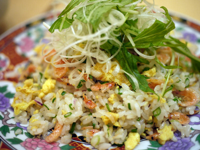 Asian Fried Rice. With prawns and egg royalty free stock photos