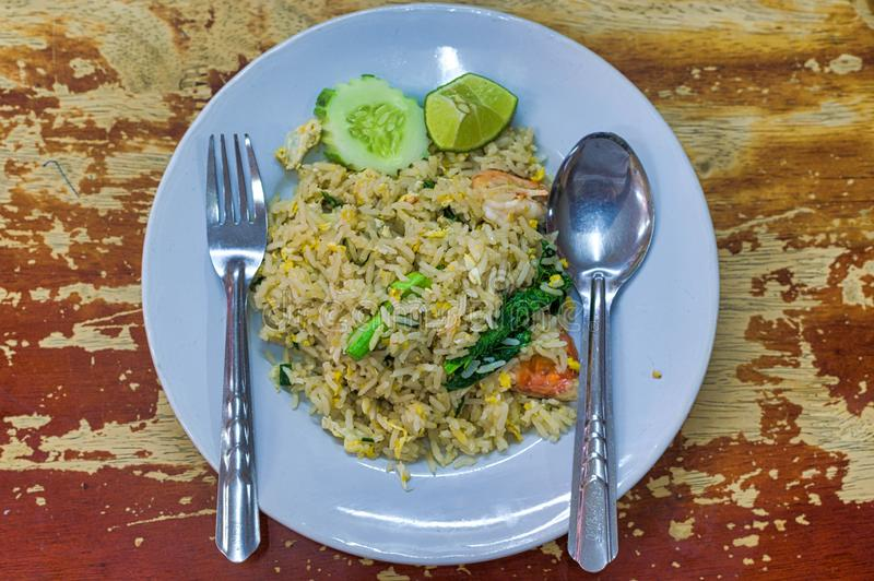 Asian fried rice with egg and shrimp.  stock photography