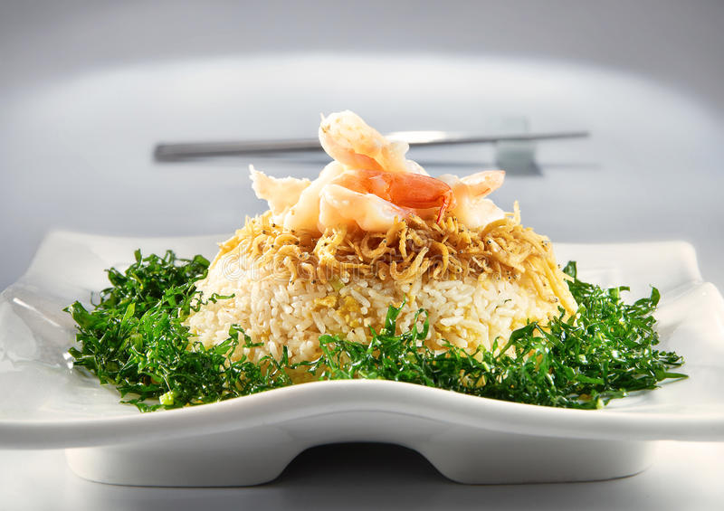Asian Fried Rice. On mood background stock photos