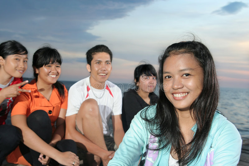 Download Asian and friend stock image. Image of four, group, ocean - 6707123