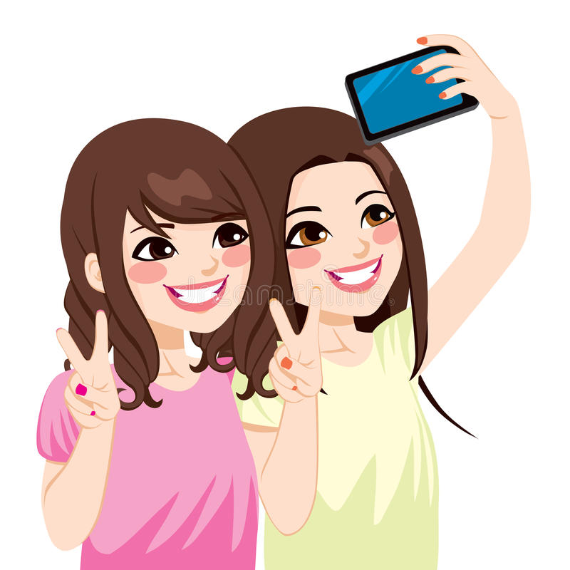 Asian Friends Selfie. Beautiful young asian japanese friends taking selfie photo together with mobile phone camera vector illustration
