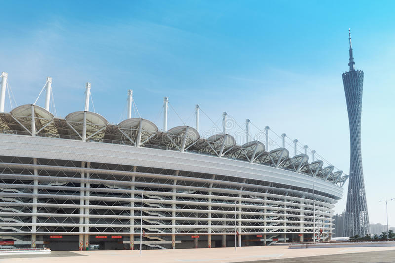 Asian Games stadium and Guangzhou Tower stock image