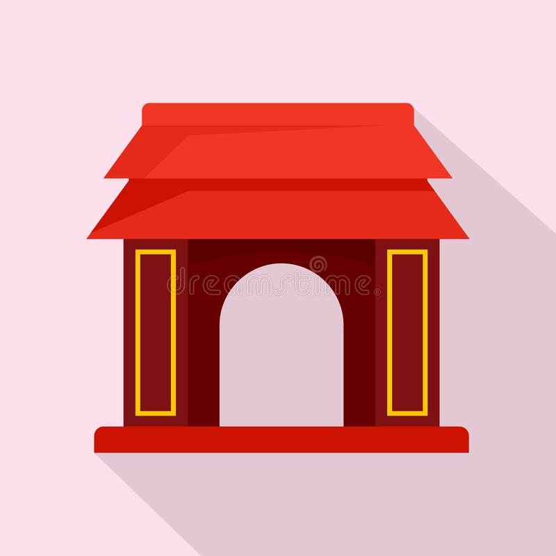 Asian gate icon, flat style vector illustration