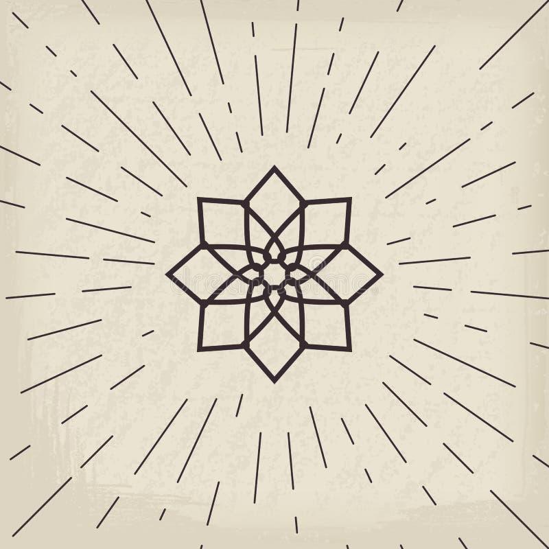 Asian geometric symbol. Asian linear geometric ornament. Vector decorative symbol vector illustration