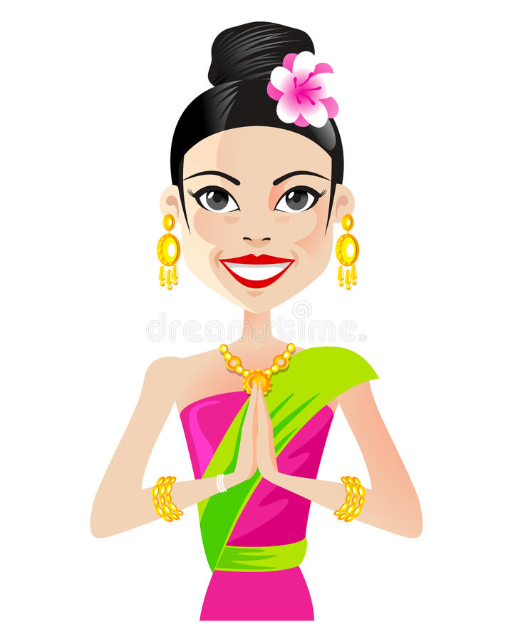 Asian girl. Asian woman in traditional clothes stock illustration