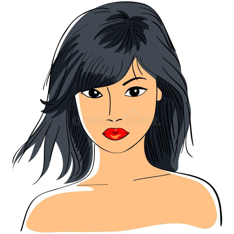 Download Asian girl stock illustration. Image of asian, bangs - 20957938