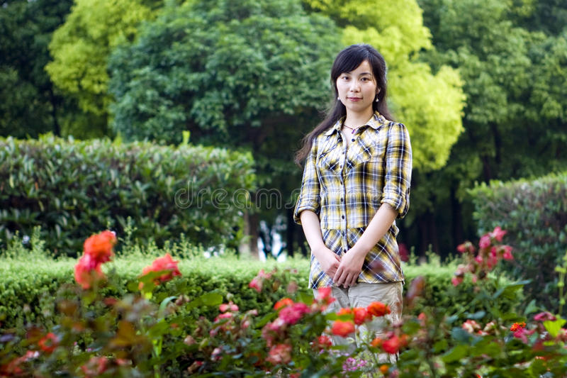Download Asian girl stock photo. Image of posture, flower, enjoy - 25419514