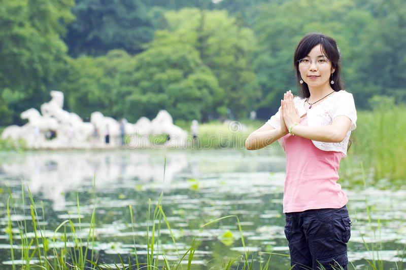 Download Asian girl stock photo. Image of posture, park, nature - 25419678