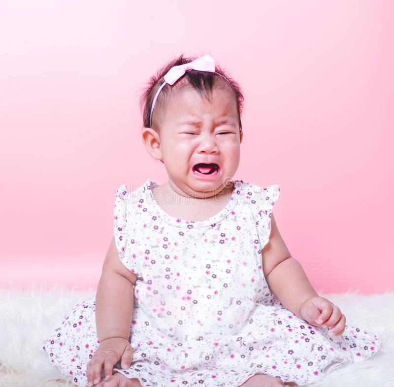 Asian girl baby face crying stock images