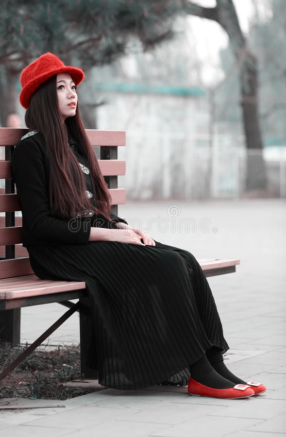Download Asian girl on bench stock image. Image of lone, contentment - 30525013
