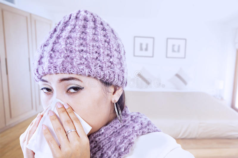 Download Asian Girl Blowing Nose Wearing Beany In Winter Stock Photo - Image: 27642180