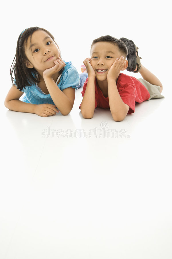 Asian girl and boy. royalty free stock photos