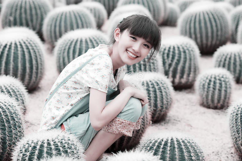 Download Asian girl in cactus field stock image. Image of face - 20467781
