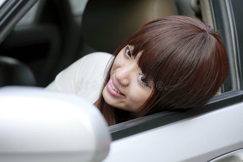 Asian Girl In The Car Stock Photo
