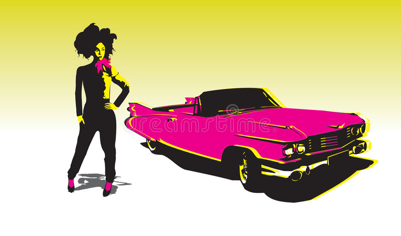 Asian girl with car royalty free illustration
