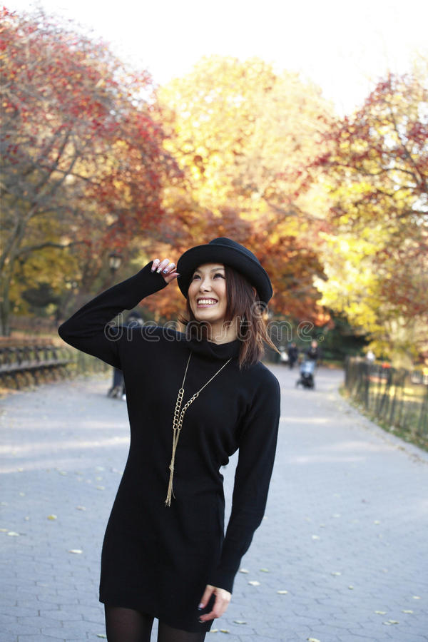 Download Asian girl in Central Park stock image. Image of lady - 13841603