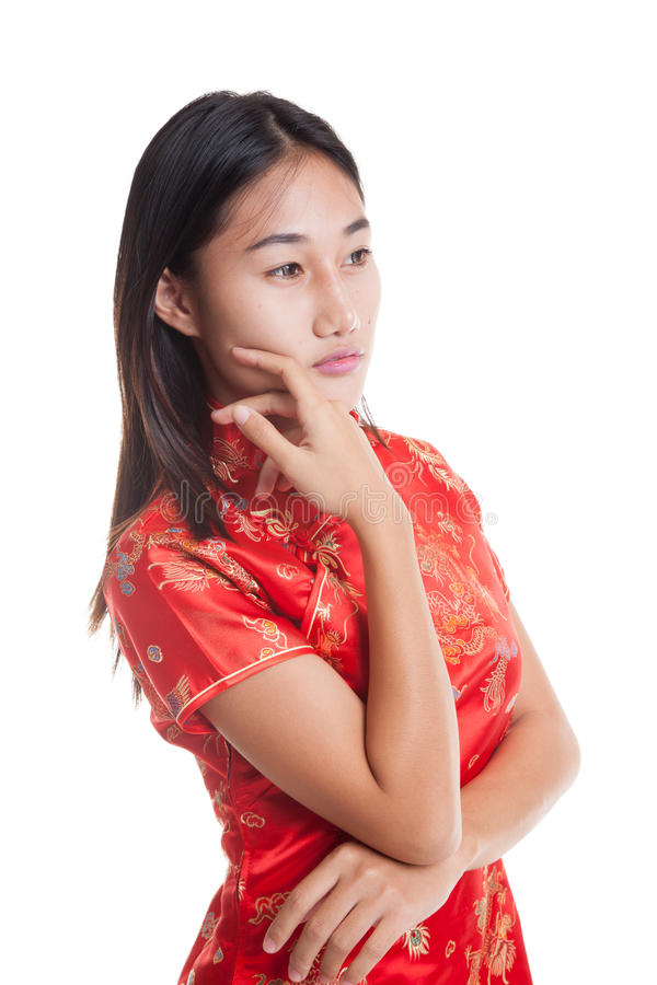 Asian girl in chinese cheongsam dress. Asian girl in chinese cheongsam dress isolated on white background royalty free stock images