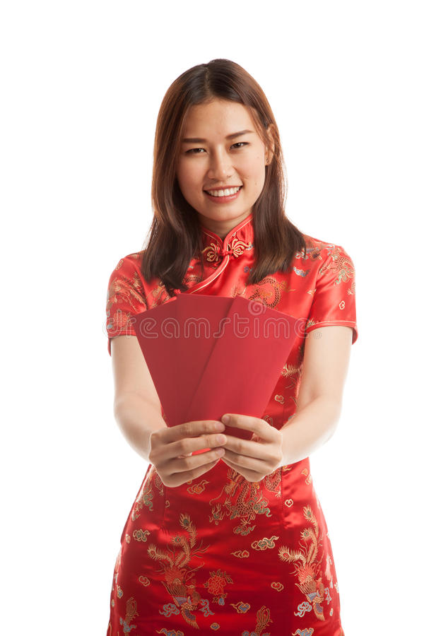 Asian girl in chinese cheongsam dress with red envelope. stock photography