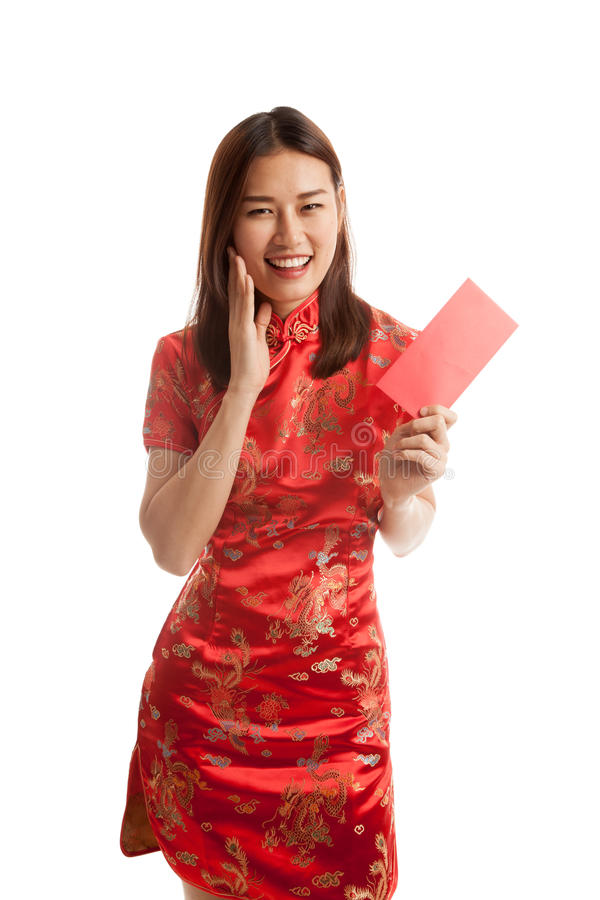 Asian girl in chinese cheongsam dress with red envelope. stock photos