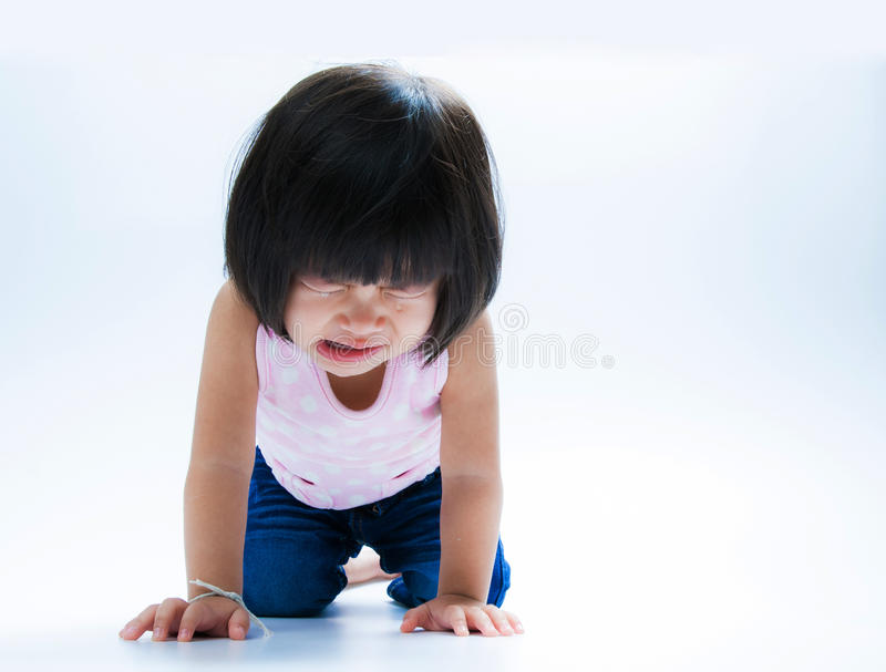 Asian girl crying isolate stock photo