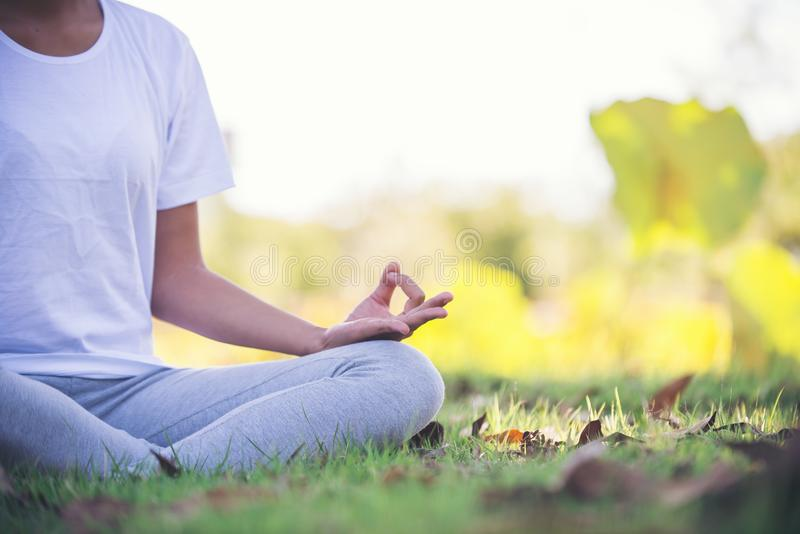 Young asian woman doing yoga in the park. Asian girl doing yoga in the park To express the calm of the surrounding. Increase concentration within the mind stock images