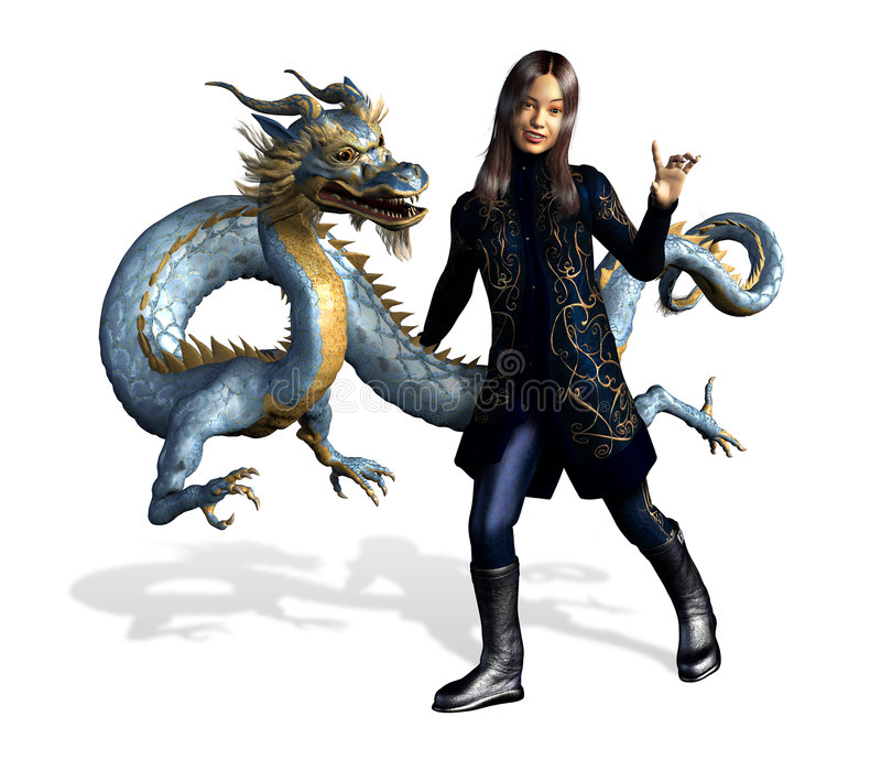 Asian Girl with Dragon - includes clipping path royalty free illustration