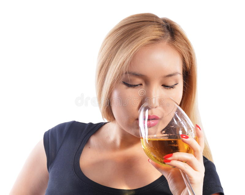 Asian girl drinking wine stock image