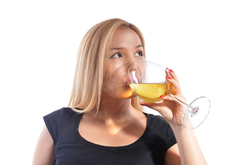 Asian girl drinking wine royalty free stock images