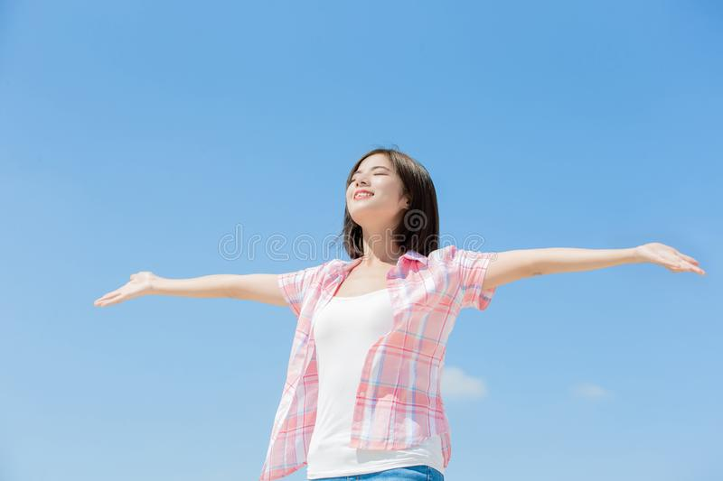Asian girl feel carefree royalty free stock images