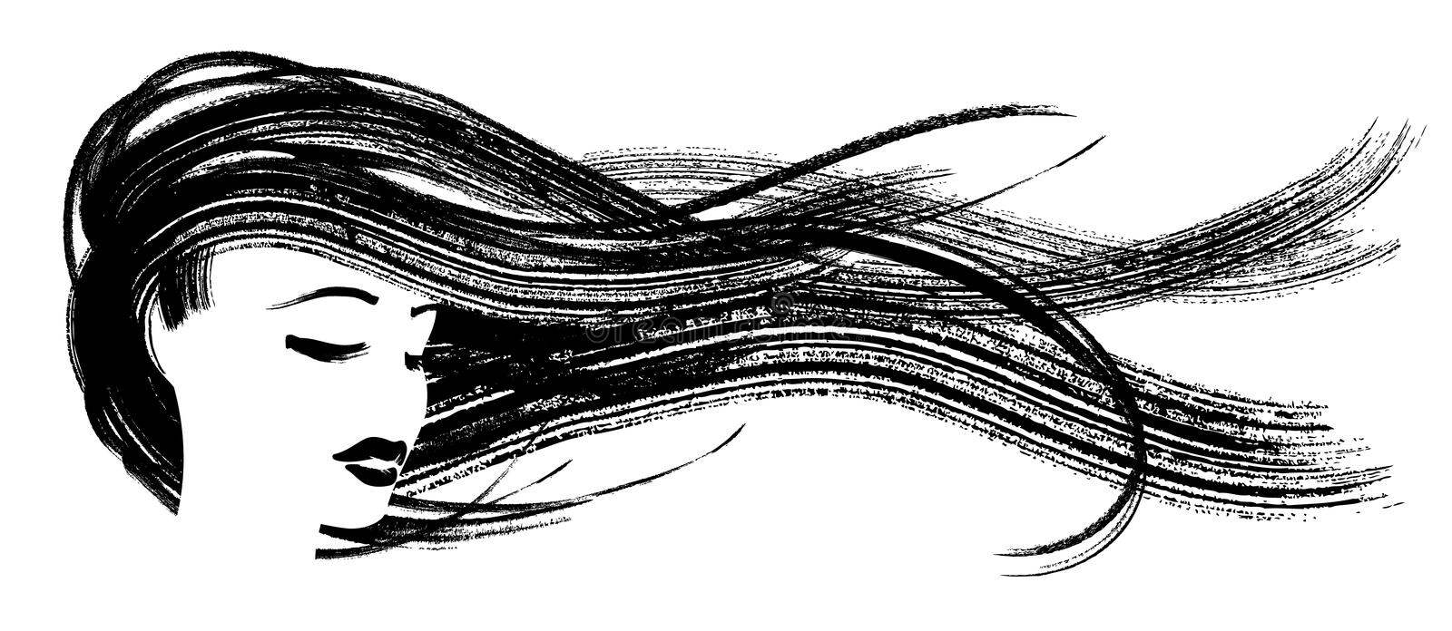 Asian girl with flying hair. Ink sketch of woman head