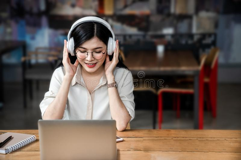 Asian girl is freelancer woman stock photo