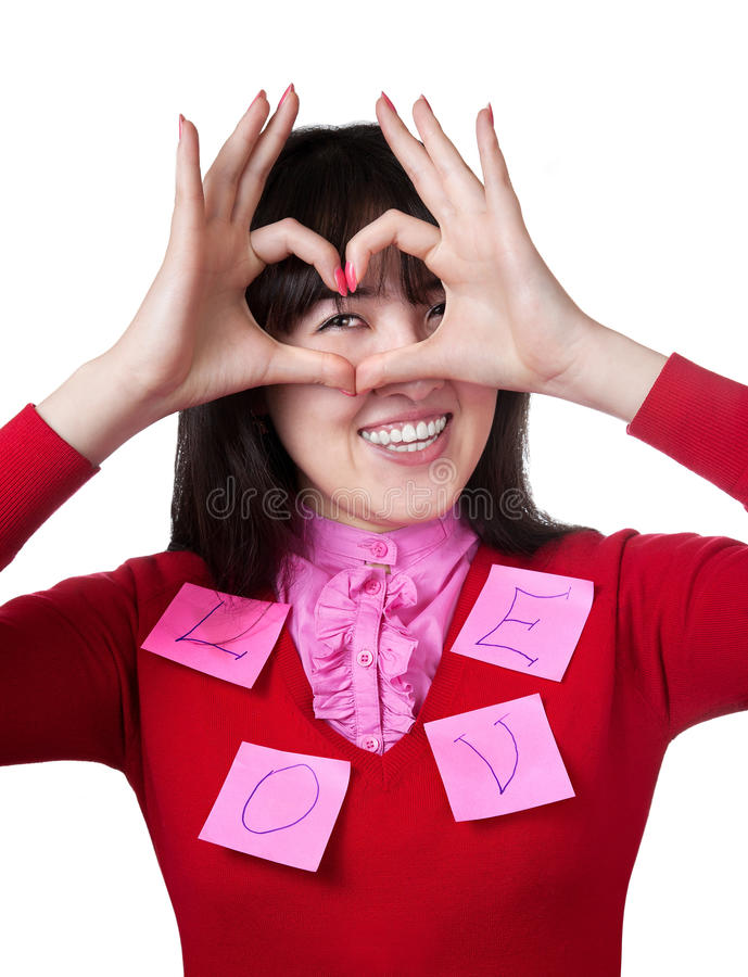 Asian Girl Gesturing Heart With Her Hands Royalty Free Stock Image
