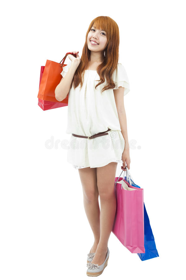 Asian girl go shopping stock image
