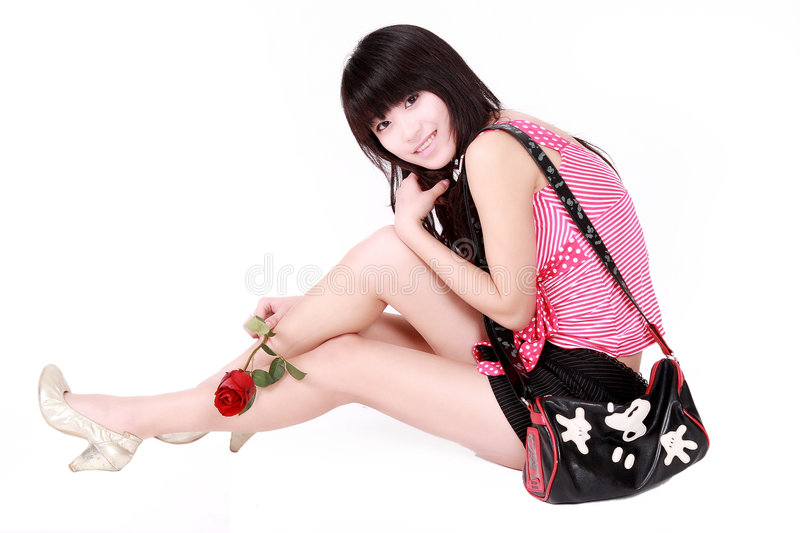 Asian Girl With Handbag Royalty Free Stock Images