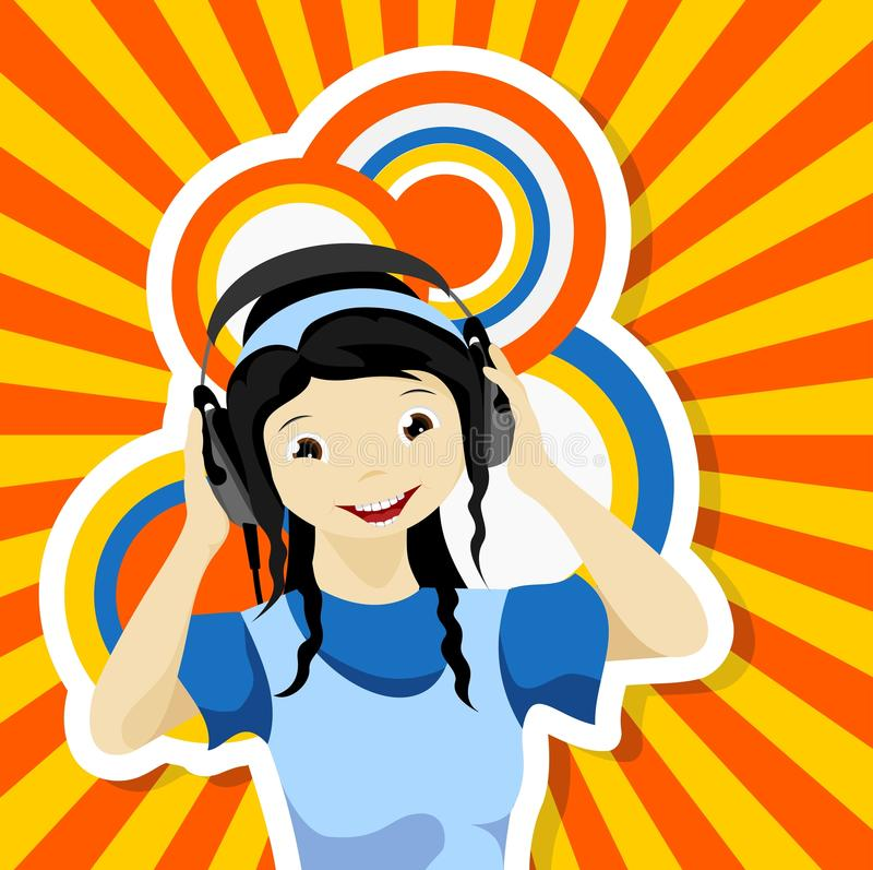 Download Asian girl with headphones stock vector. Illustration of happy - 26076462