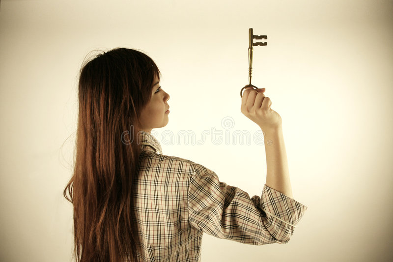 Download Asian girl holding key stock photo. Image of large, woman - 4411462